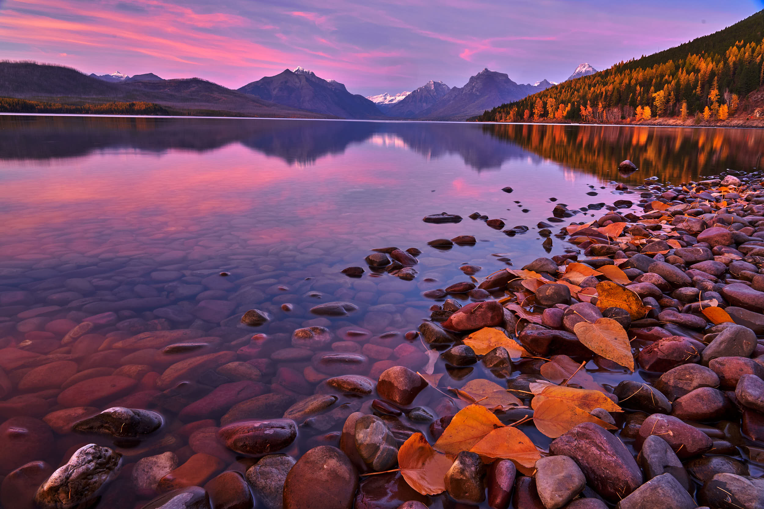 Lake McDonald Fall Sunset